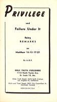 Privilege and Failure Under It; Being Remarks on Matthew 16:13 – 17:21