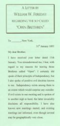 A letter by W. W. Fereday re the so-called 'Open Brethren'