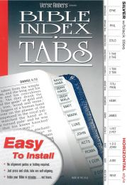 Bible Index Tabs, Silver with Black Titles