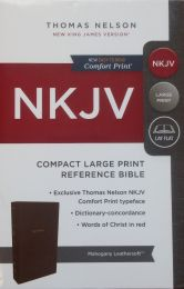 NKJV Compact Large Print Reference Mahogany Leathersoft Bible 1748-0