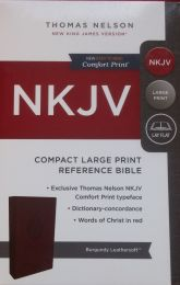 NKJV Compact Large Print Reference Burgundy Leathersoft Bible 1751-0
