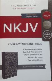 NKJV Compact Thinline Blue/Green Cloth OverBoard Bible 7550-7