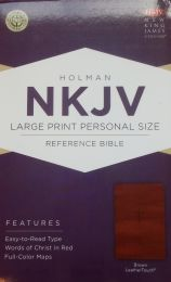 NKJV Large Print Personnal Size Reference Brown LeatherTouch Bible 0655-7