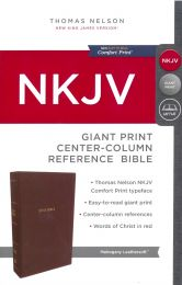 NKJV Giant Print Center-Column Reference Bible, Mahogany Leathersoft 1775-6