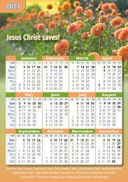 Pocket Calendar 2021 Flowers, 12 copies