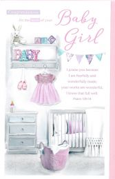 Baby Girl Birth Congratulation Card 143