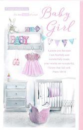 Baby Girl Birth Congratulation Card 143
