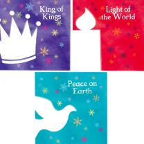 Christmas Cards, Crown, Dove and Candle DSET18