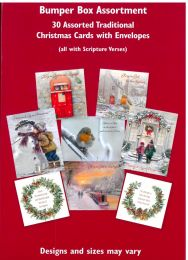 30 Assortment Traditional Christmas Cards GMC096