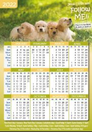 Pocket Calendar 2022 Animals, 12 copies